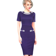 Patchwork Casual Summer Dress Knee Length Contrast Navy Blue Stripe Button Women Bodycon Business Dress B214 B270(China (Mainland))