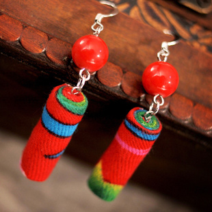 A Handmade Artwork -Chinese wind  traditional fabric dangle earrings red,  New Original Ethnic jewelry statement tube earrings(China (Mainland))