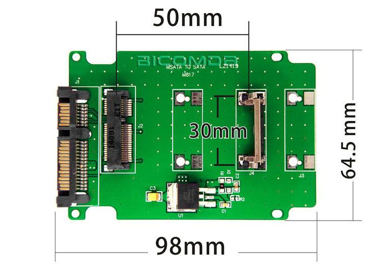 50pcs Full Height Profile Bracket mSATA to SATA Adapter Converter Card For Notebook Laptop SSD Internal(China (Mainland))