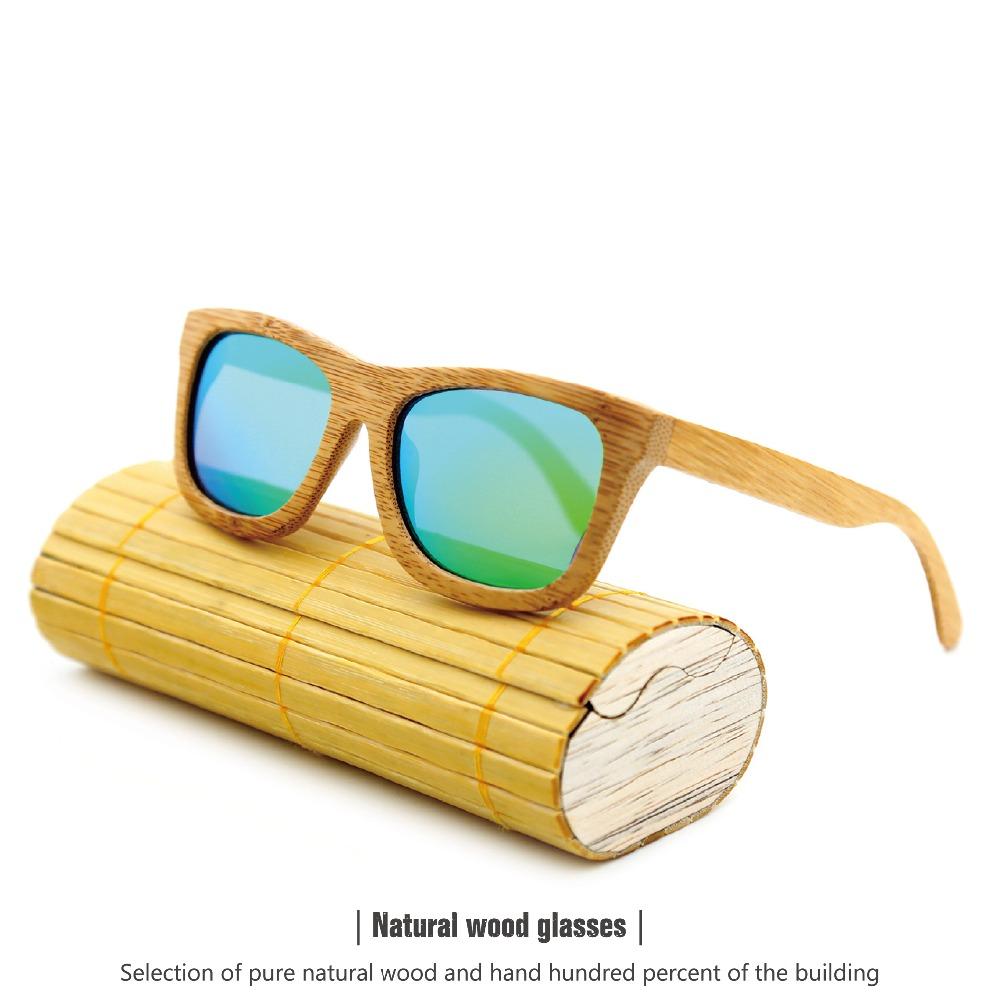 New fashion Products Men Women Glass Bamboo Sunglasses au Retro Vintage Wood Lens Wooden Frame Handmade(China (Mainland))