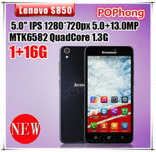 smartphone lenovo S850 1G RAM 16G ROM 5.0 inch MTK6582 Quad Core cell phones 13.0MP camera