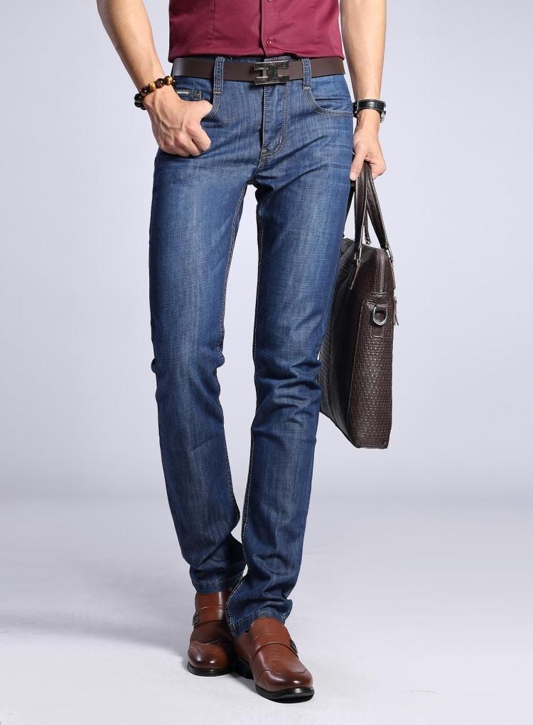 Скидки на Горячая! марка брюки, досуг и свободного покроя брюки недавно стиль молния лететь прямо хлопок джинсы для мужчин брюки 28-42 8 видов