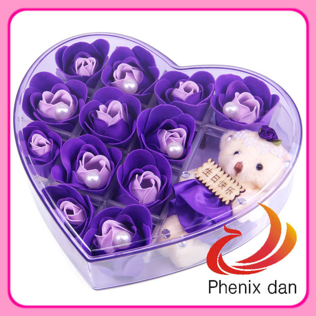 Free Shipping 2013 New Arrival Valentine/Birthday/wedding Gift 12pcs washing Rose Flower Soap with Bear for Wedding favors