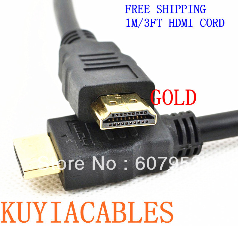 Free shipping&wholesale 2pcs/lot short 3ft 1m HDMI cable cord 1.4V male to male with 3D&blue ray already(China (Mainland))