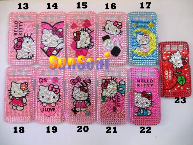 hot sales hello kitty bling rhinestone crystal pattern cell phone case for Samsung Galaxy S3 I9300(China (Mainland))