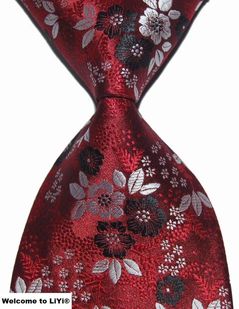 Designer Brand New Classic Paisley Tie Floral Red Purple Blue Gold Silver Gray Jacquard Woven 100% Silk Fashion Mens Tie Necktie(China (Mainland))