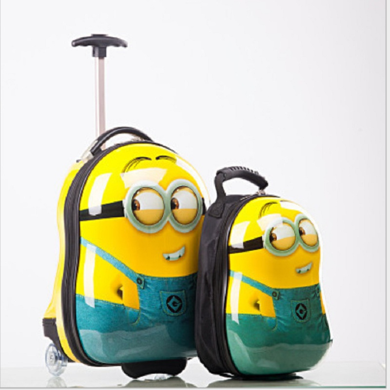 2PCS/ Set hot Minions child School bag Tourism luggage suitcase cartoon 17 inch kids travel trolley case Boarding box children gift - luo heng's store