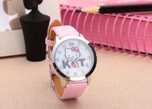 2015 Hello Kitty dibujos animados chicas mujer los relojes nuevo estilo de moda para mujer relojes de pulsera mejor regalo presente para chicas jóvenes