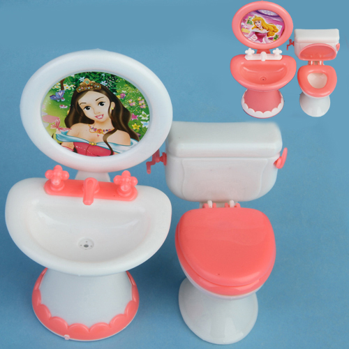 Doll House Dollhouse Furniture Bathroom Set Toilet and Sink Pretend Play Classic Toys Furniture Toys Best Gift for Kids Girl(China (Mainland))