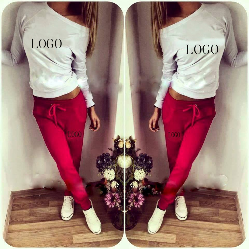 Free shipping new arrival 2015 tracksuit LOGO Good quality sport suit 2 pieces set women clothing sports women sweatshirt+pant(China (Mainland))