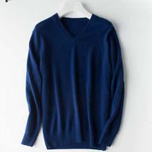 100% 염소 캐시미어 니트 스웨터 남자 풀오버 핫 세일 고품질 vneck 남성 점퍼 9 색 순수 pashmina 니트 남성 탑(China)