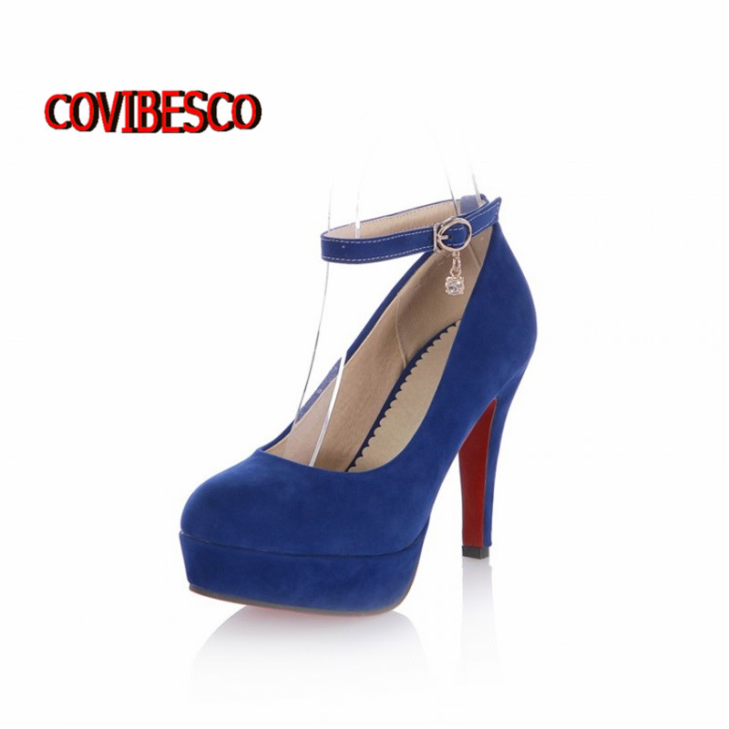 New Arrival 2015 Fashion Women Sexy Red Bottom Gladiator Ankle Straps High Heel pumps Platform wedding party shoes Big Size34-43<br><br>Aliexpress