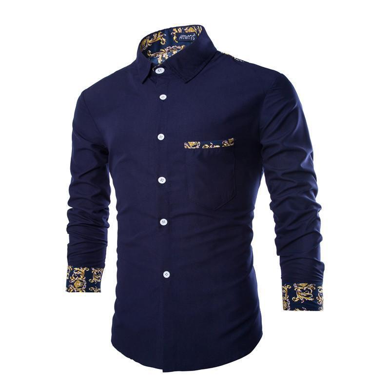 Royal blue mens dress shirt ejn dress for Mens printed long sleeve shirts