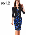 Women Office Dress Plus Size 6L Long Kleider Elegant 2016 Summer Pencil Bodycon Vestidos Wear To
