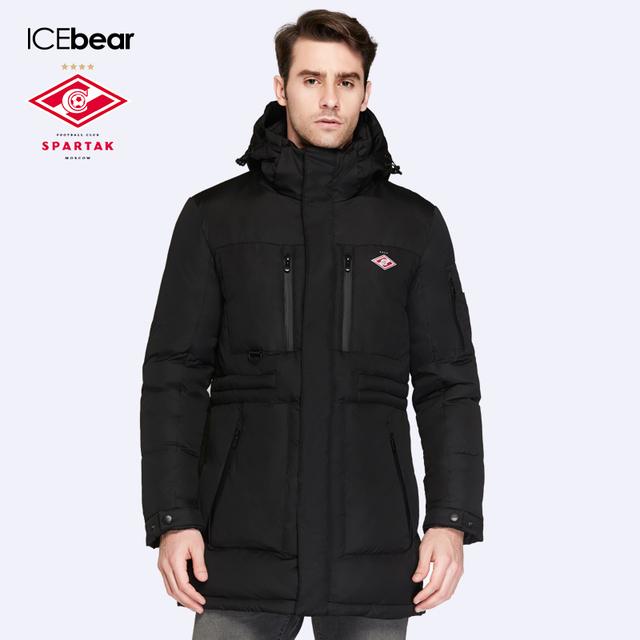 SPARTAK-ICEbear Совместное Производство 2016 Новая Зимняя Коллекция Био Вниз Пальто Средней Длины мужская С Капюшоном Теплая Куртка 16M908D