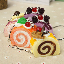 1PC Yummy Fruit Cream Roll Cake Kawaii Squishy Bread Keychain Bag Phone Charm Strap(China (Mainland))