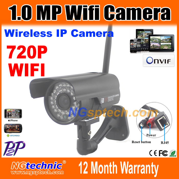 Home security CCTV waterproof wifi Camera 720P 1.0MP with Reset button Motion detection P2P Onvif 2.0 IR Night vision IP Camera