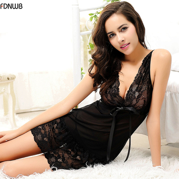 FDNWB - Black sexy lace tulle underwear nightwear sleepwear plus size women's sexy nightgown Slim Casual Nightgowns