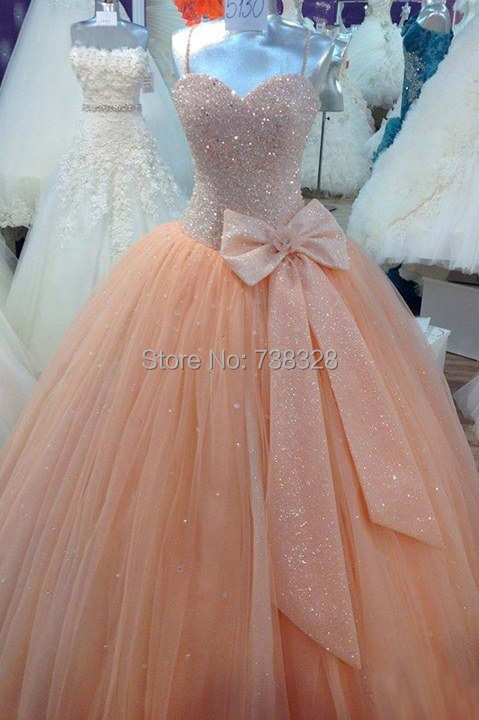 Luxury Peach Sweet 16 Quinceanera Dresses Vestidos De 15 Anos Actual Image Beaded Tulle Ball Gown Long Party Prom Gowns - iLoveWedding Store store