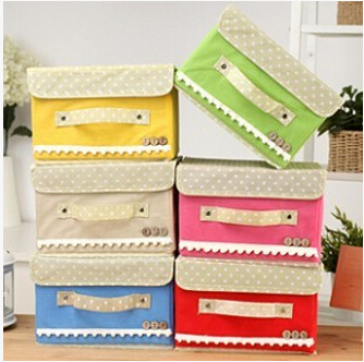 Cosmetic buttoned storage box covered sorting jewelry folding small - our house store