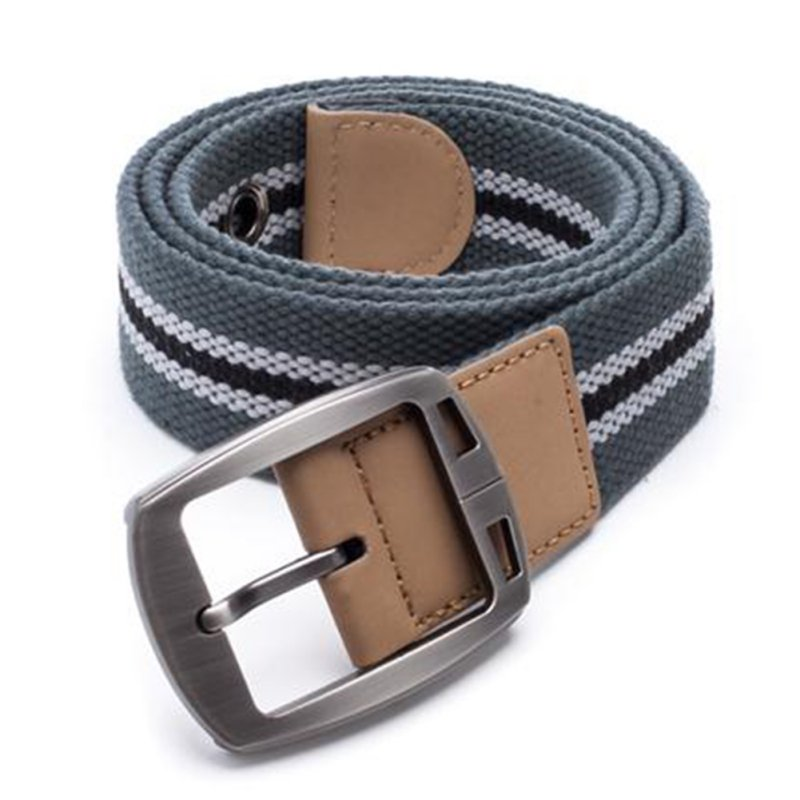 Newest New Men's Leather Covered Waistband Canvas Pin Buckle Woven Elastic Casual Belt