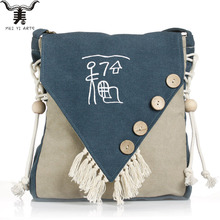 Womens Canvas Crossbody Satchel Bag featuring Buttons Beads & Tassels