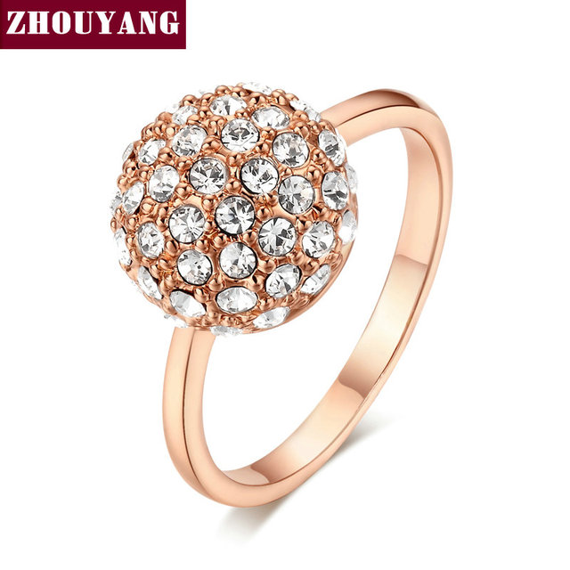 ZHOUYANG Top Quality ZYR090 Clear Ball  Rose Gold Plated Ring   Crystals From Austria Full Sizes Wholesale