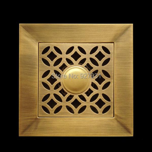 Купить Бесплатная Доставка 14 см Площадь Инженерных Трапных Античная Латунь 5.5 дюйма Ванная Комната Трап Отходов