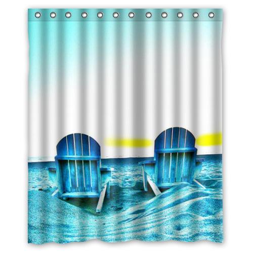 New Fashion High Quality Waterproof Beach Chairs Pattern Shower Curtain 60 X 72 Jpg