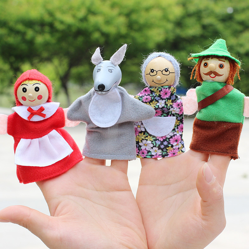 4 pcs Cartoon little Red Riding Hood couple Plush toy doll a story his mother help children's day gifts ZZ004 free shipping(China (Mainland))