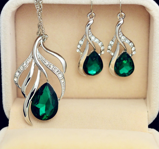 fashion jewelry set gold plated leaf design crystal drop pendant necklace earring gift women ladies' S702 - just do my best store
