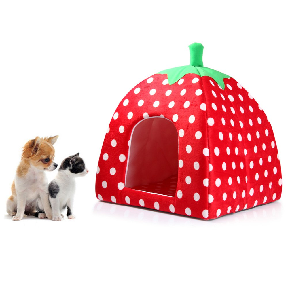 2016 Newest Winner Warm Soft Plush Sponge Strawberry Pet Bed kitten doggie mat with Warm Cushion With 3 Colors S M L Size(China (Mainland))