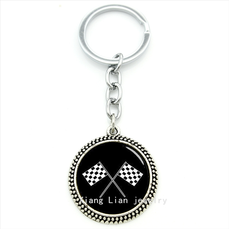 Vintage accessories white and black keychain racing font b chequered b font flag 4 checkered flags