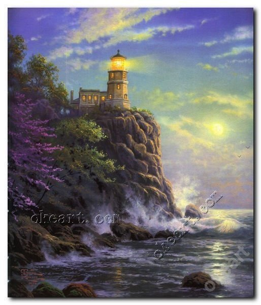 "Free shipping Split rock light Thomas kinkade seascape art prints 20x24""(China (Mainland))"