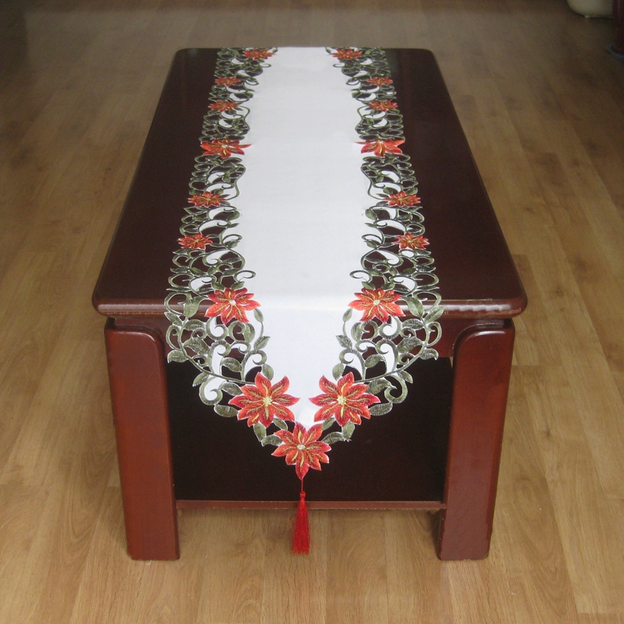 New for christmas polyester embroidery xmas satin table for Glass cut work designs