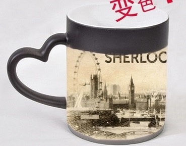 Sherlock Picture Color-Changing Mug Magic Cold/Hot Temperature Sensitive Cup color changing mugs with lid(China (Mainland))