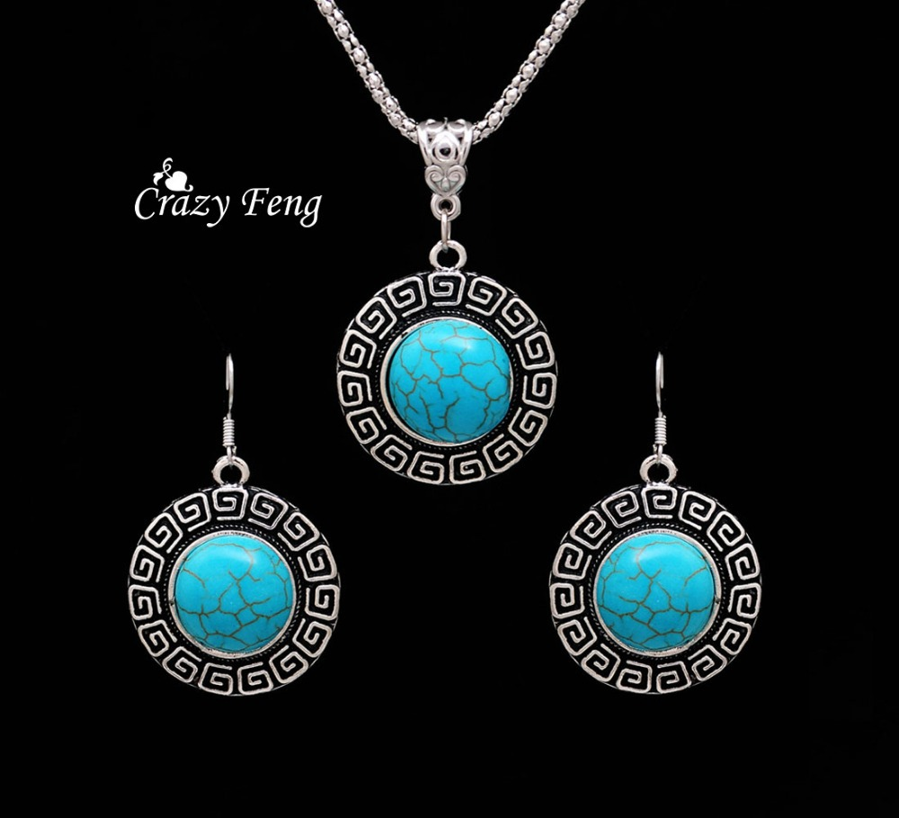 Top Sale Vintage Tibetan Silver Jewelry Sets Green Round Turquoise Dangle Pendant Necklace Earrings Set for Women Free Shipping(China (Mainland))
