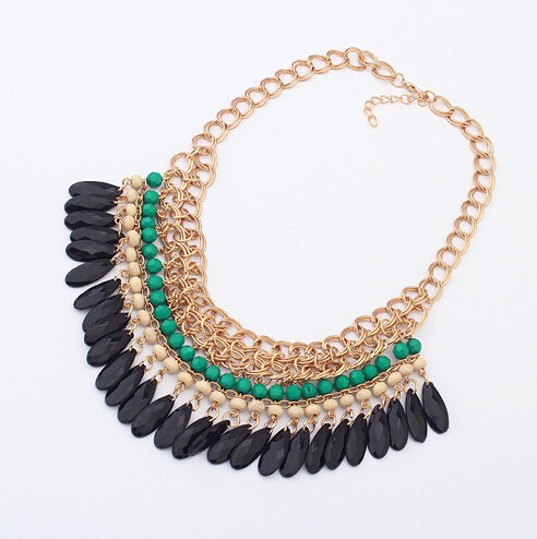 2015 Collier Femme Bohemian Resin Beads Statement Choker Necklace Chain Women Multilayer Collares Accessories - Ailier Jewelry store