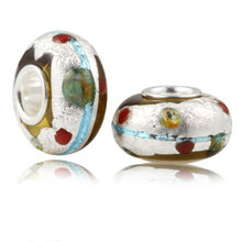 Authentic 925 Sterling Silver Bead Charm Murano Glass with Silver Leaf Beads Fit Pandora Bracelet & bangle DIY jewelry SG5658