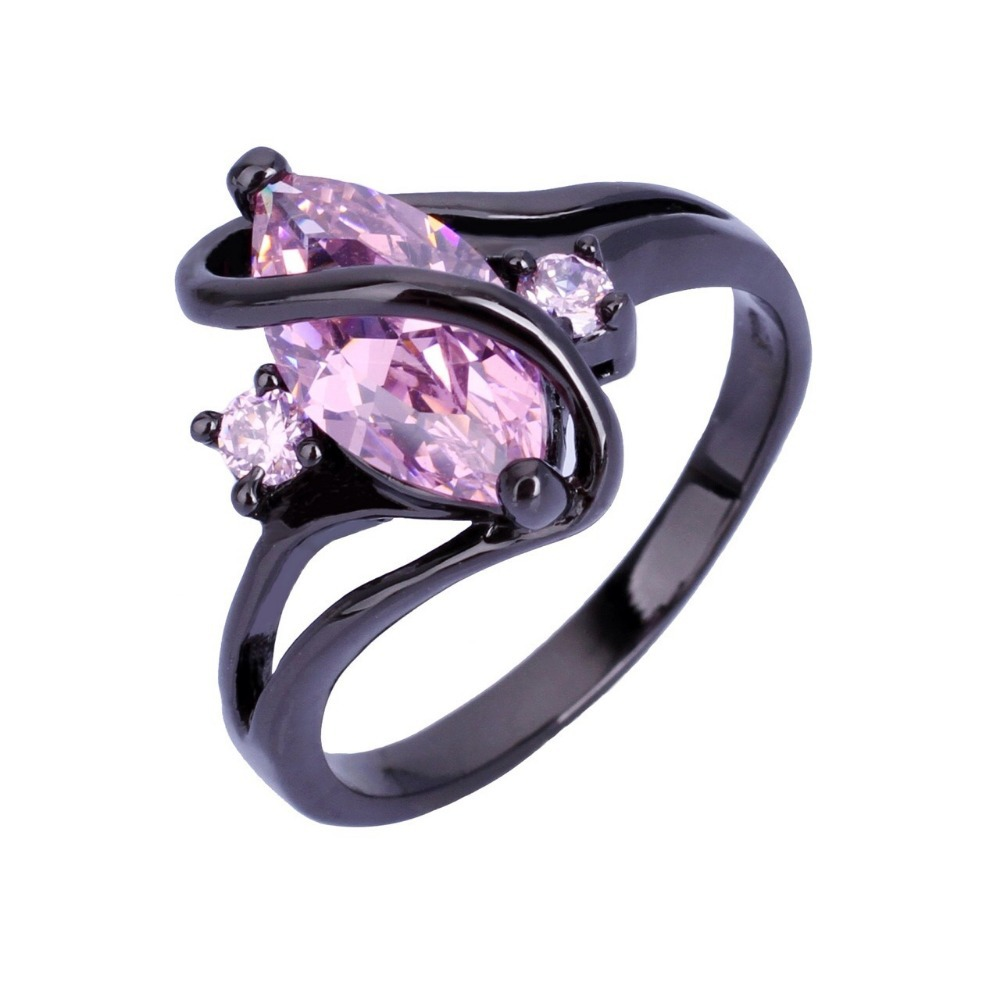 Size 6/7/8/9/10 Black Gold Filled 10K T Pink Sapphire Rings For Women Lady's Gift Ring Fashion Jewelry(China (Mainland))