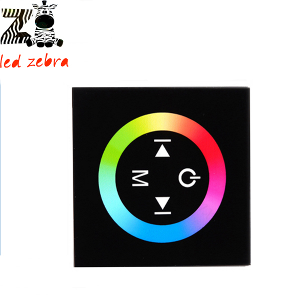 black/white glass touch panel rgb full color led controller, 3 channel wall mount led dimmer for rgb led strip dc 12 -24v(China (Mainland))