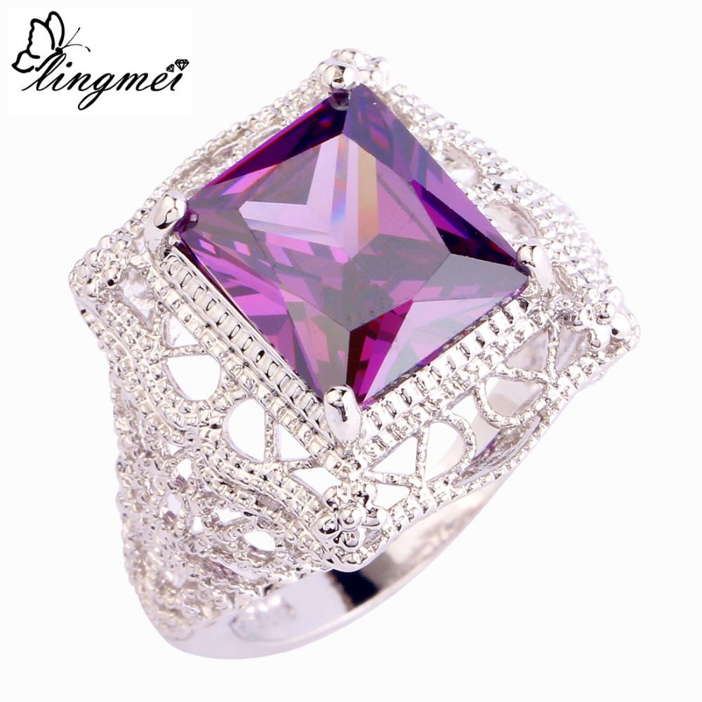 lingmei Fashion New Amethyst Silver Ring Women Men Rings Size 6 7 8 9 10 11 JEWELRY FOR PARTY'S - LingMei jewelry Co., Ltd. store