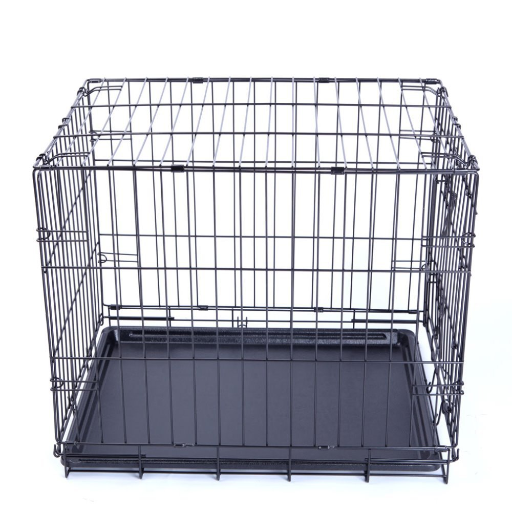 PetsMall Pet Cat Dog Supplies Mental Dog Cage With Plastic Tray Three Sizes Black Colorsupplies #9001-18A(China (Mainland))