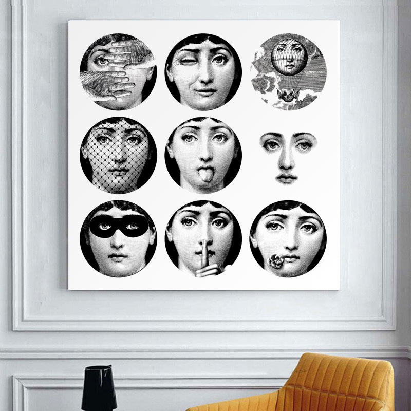 Cuadros Decoracion free Shipping Italy Fornasetti Frameless Paintings Modern Vintage Retro Gifts Wall Art Quotes Bedroom Decor(China (Mainland))