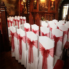 Clear stock 22*275cm Organza Sashes Chair Cover Bow Sash WIDER FULLER BOWS Wedding Party(China (Mainland))