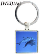 JWEIJIAO mar azul con arte de delfín imagen de cristal llaveros de aleación de plata dijes cuadrados colgantes llaveros joyería J470(China)