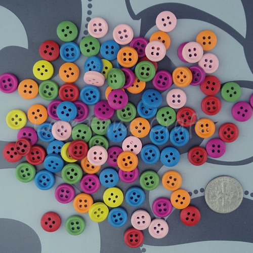 200 Mix color 9mm Wood Round Button 4 HOLES Baby Shower Sewing Garment Shoes Accessories Scrapbooking Craft - LoveFang Craft's store