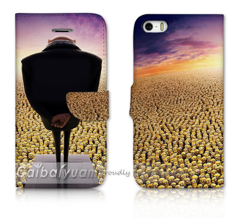 Миньоны роб зеркало печать 5S кожаный чехол для Iphone 5S крышка чехол роскошь окно слот для карт памяти наушники фото