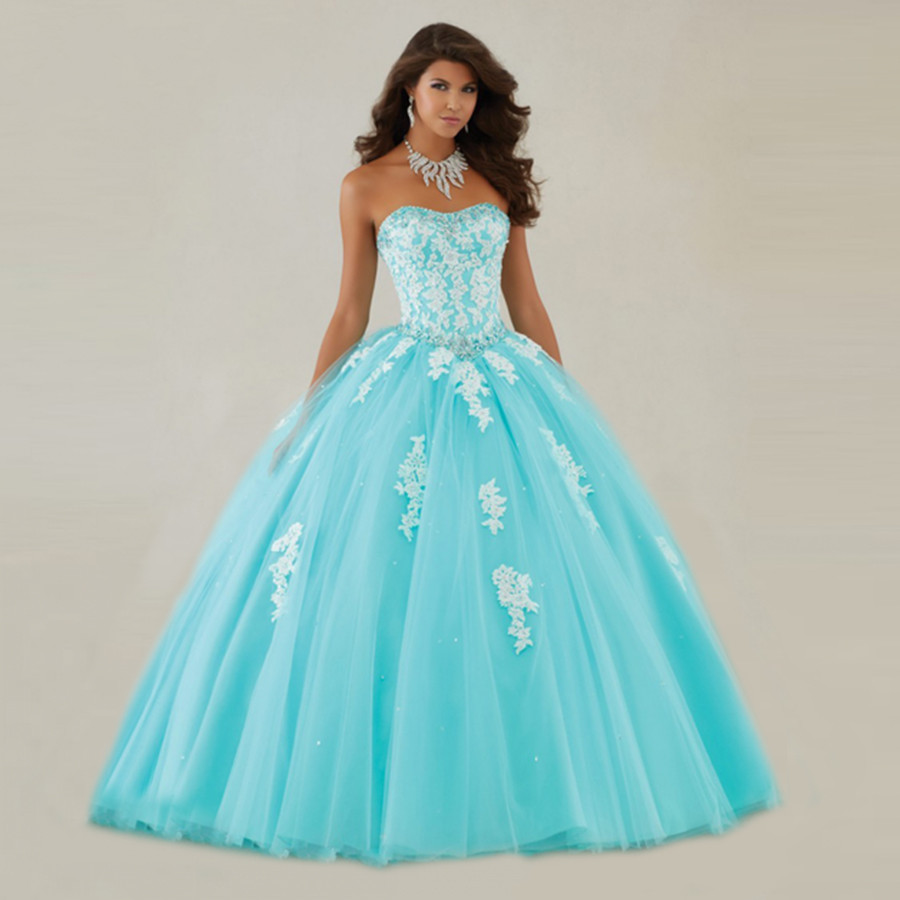Blue And White Ball Gowns New Elegant White Lace...