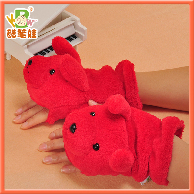 2014 Cute plush red gloves soft plush mitten dog shaped gloves toy